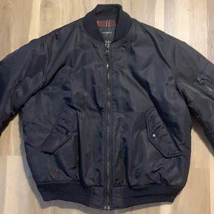 Givenchy navy bomber jacket w/ plaid lining, sz 48